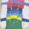เสื้อคอปกวี ผ้าปีเก้ (ตัดต่อสี) แขนสั้น