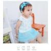 ชุดเดรสเด็กเล็ก Augelute ฟูฟ่อง สีฟ้าขาว ลายหลุยส์