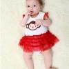 ชุดเดรสบอดี้สูทเด็กหญิง กระโปรงแดง สำหรับเด็กวัย 0-24 เดือน