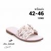 รองเท้าแตะไซส์ใหญ่ ไซส์ 44-46 ดีไซน์ H ประดับไข่มุกสุดหรู หนังแท้ สีขาว รุ่น KR0588