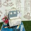 กระเป๋าเป้ Anello The emporium สีขาวฟ้า (limited edition) ขนาดมินิ กำลังดี วัสดุผ้าแคนวาสสลับหนัง polyester