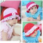 หมวกเด็กหญิง วัย 6-24 เดือน มีระบาย แต่งดอกไม้ปัก