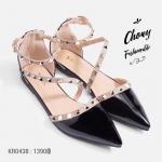 รองเท้าส้นแบนไซส์ใหญ่ Cross Oblique Studded ไซส์ 41-46 รุ่น KR0438