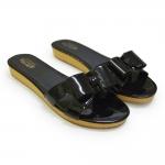 [พร้อมส่ง] ไซส์ 39-46 รองเท้าแตะไซส์ใหญ่ พื้นหนา ติดโบว์สี่เหลี่ยม สีดำ - CH0131