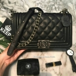 KEEP shoulder Luxury Quited bag Chanel boy Ems Free