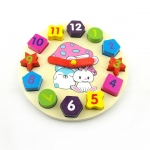 ของเล่นไม้ นาฬิกา บล็อคตัวเลขและรูปทรง Multicolor Brick Clock