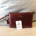 Coach Leather F54626 Corner Zip Wristlet In Crossgrain