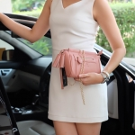 กระเป๋า KEEP saffiano leather 3in1 with chain strap Old Rose