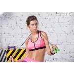 สปอร์ตบรา ชุดกีฬาผู้หญิง รุ่นซิปหน้า รองรับแรงกระแทกระดับ 4 ใส่สบาย - สีชมพู