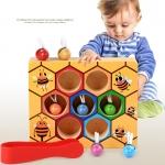 ของเล่นไม้ ผึ้งน้อยสอนจับคู่สี การนับจำนวน ฝึกการคีบ