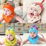หมวกและผ้ากันเปื้อนเด็กอ่อนผ้ายืด กระรอกน้อยน่ารัก สไตล์เกาหลี