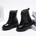 รองเท้าบู๊ทเด็ก สีดำ ผูกเชือกหลอก มีซิปข้าง เท่ห์ หรู Size 28-36