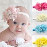 ผ้าคาดผมทารก ดอกไม้ประดับเส้นมุก น่ารักสไตล์ยุโรป