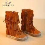 รองเท้าบู๊ทยาวเด็กสีน้ำตาล ซิปข้าง Size 27-30