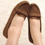 ** ไซส์ 43 ** รองเท้าส้นแบน สีน้ำตาลตามภาพเลย หนังวัวแท้ พื้นยางพารากันลื่น - CH0063