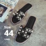 รองเท้าแตะไซส์ใหญ่ ไซส์ 44 ดีไซน์ H แอเมส ประดับไข่มุกสุดหรู สินค้านำเข้าเกาหลี สีดำ รุ่น KR0588
