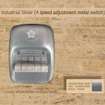 สวิตซ์เหล็ก พัดลมเพดาน ซากุระ แบบกด ปรับระดับแรงลม 4 ระดับ Industrial Silver
