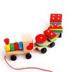 ของเล่นไม้ รถไฟลาก บล็อคไม้สวมหลัก เสริมพัฒนาการ