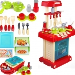 ของเล่นชุดเคาน์เตอร์ครัว พร้อมอุปกรณ์ทำอาหารสำหรับคุณหนูครบเซต สีแดงสไตล์โมเดิร์น