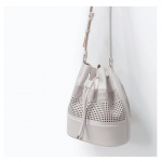 Zara Women Bucket Bag With Leather Detail
