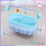 เปลไกวไฟฟ้าอัตโนมัติ พร้อมมุ้ง และตุ๊กตาโมบาย สีฟ้า พร้อมชุดเบาะนอน พร้อมโปรส่งฟรี