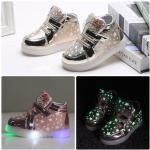 รองเท้าคัชชูเด็กหญิงตัวน้อย สีทองเมทัลลิค มีไฟ+เรืองแสง Size 21-25