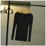 เสื้อยืดแขนยาว คอวี(สีดำ)