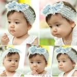ผ้าคาดผมทารก โบว์ฟ้าขาว สไตล์เกาหลี