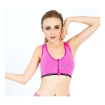 สปอร์ตบรา Sport Bra ซิปหน้า รุ่น 3D ไร้โครง ใส่เล่นฟิตเนต วิ่ง โยคะ ยึดตัว - สีชมพู