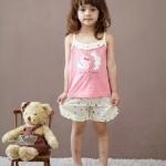 ชุดเด็กหญิง เสื้อสายเดี่ยว+กางเกงขาสั้น ลายแกะน้อย size 90 110 120 130