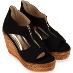 รองเท้าส้นเตารีดไซส์เล็ก 30 Zipper หนังกลับนิ่ม สีดำ - KR0235