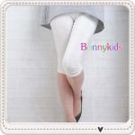 กางเกงเลกกิ้งคลุมท้อง 3 ส่วน ปลายขาเย็บยืดย่น สีขาว