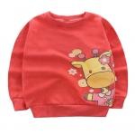 เสื้อกันหนาวเด็กเล็ก แขนยาว เนื้อนุ่ม สกรีนลายยีราฟสีแดง สำหรับเด็กวัย 1-3 ปี