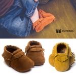 รองเท้าเด็กหนังผ้านิ่มแต่งพู่ สไตล์เด็กยุโรป ROMIRUS สำหรับเด็กวัย 0-18 เดือน