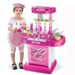 ของเล่นชุดเคาน์เตอร์ครัวพร้อมอุปกรณ์ทำอาหารสำหรับคุณหนูครบเซต สีชมพูสวยหวาน
