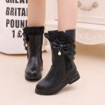 รองเท้าบู๊ทยาวเด็กหญิงสีดำ ซิปข้าง Size 32-37