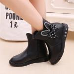 รองเท้าบู๊ทสั้นเด็กหญิง สีดำ มีซิปข้าง Size 27-37