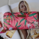 Victoria's Secret Tropical hawaii style satin zip wallet