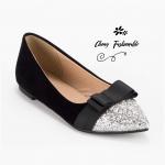 รองเท้าคัชชูส้นแบนไซส์ใหญ่ 41-48 Disco Bowtie กำมะหยี่ สีดำ รหัส KR0736