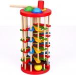 ของเล่นไม้ ค้อนตอกบอลทาวเวอร์ กลิ้งลงบันไดเวียน Knock Ball The Ladder