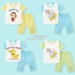 ชุดเด็กเล็ก เสื้อแขนสั้น+กางเกงขาสามส่วน ผ้านิ่มใส่บาย สำหรับเด็กวัย 6-18 เดือน