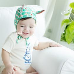 HT211••หมวกเด็ก•• / [สีเขียว] หมวกนักบินลายสามเหลี่ยม