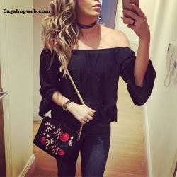 ZARA EMBROIDERED LEATHER CLUTCH
