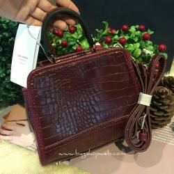 กระเป่า Zara Croc mini city bag สีแดง ราคา 1,290 บาท Free Ems