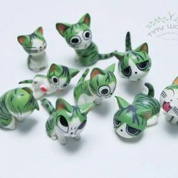 แมวจี้สีเขียว 9 ตัว