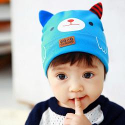 HT421••หมวกเด็ก•• / หมวกบีนนี่-หมียิ้ม (สีฟ้าเข้ม)