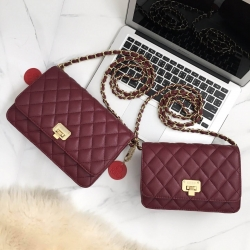 KEEP Spell Flat Bag Two Size (( mini - classic size )) Burgundy สีแดงเข้ม