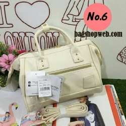 Anello polyester 2 way mini boston bag No.6 white รุ่นใหม่ล่าสุดจากแบรนด์ดังในประเทศญี่ปุ่น กระเป๋าสไตล์คลาสสิค มีโครงปากกระเป๋ากว้างเป็นสัญลักษณ์ วัสดุหนังpu กันน้ำได้