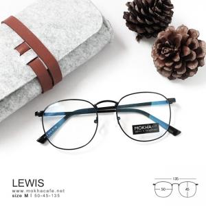 LEWIS - black แว่นทรงเหลี่ยม กรอบโลหะ กว้าง 135 มม. (size M)