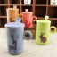 แก้วน้ำเซรามิคลายสัตว์มีฝาปิดและช้อน Eco Life nature world thumbnail 1